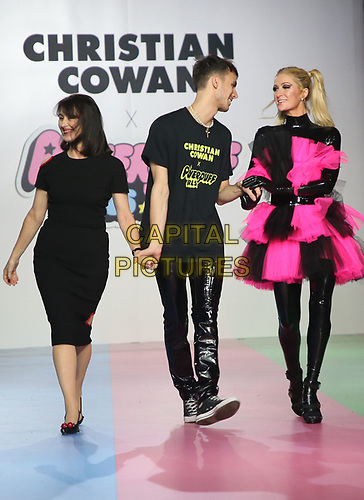 LOS ANGELES, CA - MARCH 8: Mercedes Bevan, Christian Cowan, Paris Hilton, at Christian Cowan x The Powerpuff Girls_Show at City Market Social House in Los Angeles, California on March 8, 2019.   <br /> CAP/MPI/SAD<br /> ©SAD/MPI/Capital Pictures