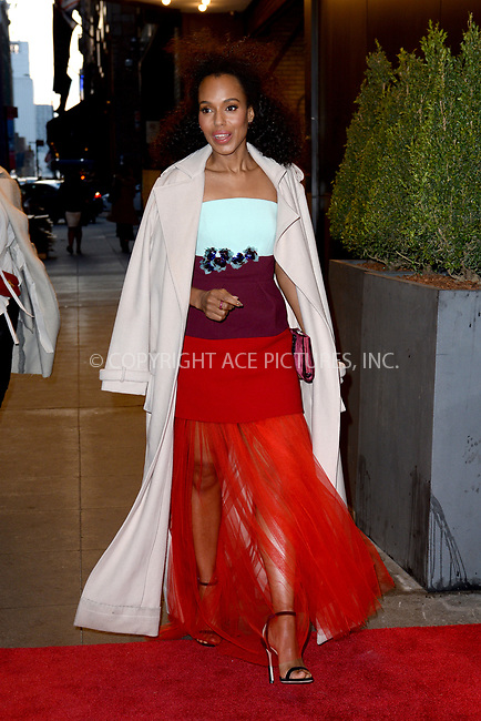 www.acepixs.com<br /> April 11, 2018 New York City<br /> <br /> Kerry Washington was seen on April 11, 2018 in New York City.<br /> <br /> Credit: Kristin Callahan/ACE Pictures<br /> <br /> <br /> Tel: (646) 769 0430<br /> e-mail: info@acepixs.com