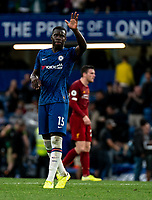 Kurt Zouma of Chelsea during the Premier League match between Chelsea and Liverpool at Stamford Bridge, London, England on 22 September 2019. Photo by Liam McAvoy / PRiME Media Images.