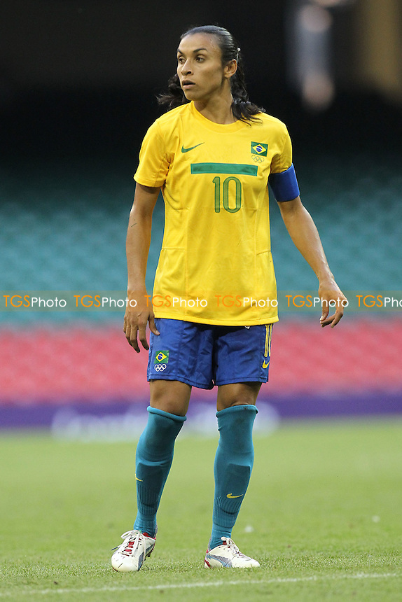 MARTA of Brazil - Brazil Women vs Cameroon Women - Womens Olympic Football Tournament London 2012 Group E at the Millenium Stadium, Cardiff, Wales - 25/07/12 - MANDATORY CREDIT: Gavin Ellis/SHEKICKS/TGSPHOTO - Self billing applies where appropriate - 0845 094 6026 - contact@tgsphoto.co.uk - NO UNPAID USE.