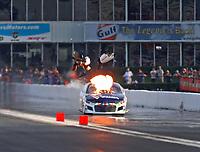 Apr 22, 2017; Baytown, TX, USA; NHRA pro mod driver Jonathan Gray suffers an nitrous explosion and fire during the Springnationals at Royal Purple Raceway. Mandatory Credit: Mark J. Rebilas-USA TODAY Sports