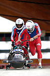 19 November 2005: Lee Johnston pilots the Great Britain 1 sled to a 24th place finish at the 2005 FIBT AIT World Cup Men's 2-Man Bobsleigh Tour at the Verizon Sports Complex, in Lake Placid, NY. Mandatory Photo Credit: Ed Wolfstein.