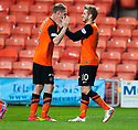 Dundee Utd's Stuart Armstrong celebrates after he scores their second goal.
