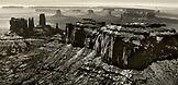 USA, Arizona, Utah, aerial view of Monument Valley, Navajo Tribal Park (B&W)