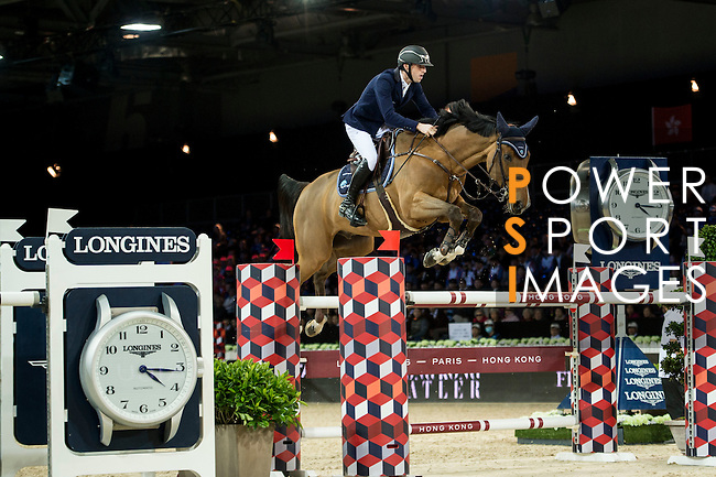 Pieter Devos on Espoir competes during competition Table A Against the Clock at the Longines Masters of Hong Kong on 19 February 2016 at the Asia World Expo in Hong Kong, China. Photo by Li Man Yuen / Power Sport Images