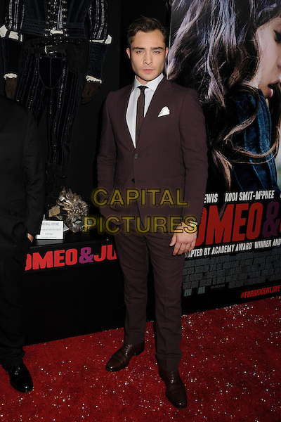 Ed Westwick<br /> &quot;Romeo &amp; Juliet&quot; Los Angeles Premiere held at Arclight Cinemas, Hollywood, California, USA.<br /> September 24th, 2013<br /> full length suit white shirt brown tie<br /> CAP/ADM/BP<br /> &copy;Byron Purvis/AdMedia/Capital Pictures