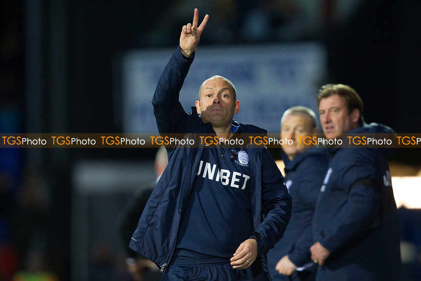 Alex Neil, Manager of Preston North End signals to the subs he wants to make two changes during Ipswich Town vs Preston North End, Sky Bet EFL Championship Football at Portman Road on 3rd November 2018