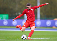 16th November 2019; Leckwith Stadium, Cardiff, Glamorgan, Wales; European Championship Under 19 2020 Qualifiers, Russia under 19s versus Wales under 19s; Joe Adams of Wales Under 19 takes a shot during warm up - Editorial Use