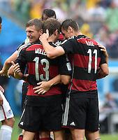 FUSSBALL WM 2014  VORRUNDE    GRUPPE G USA - Deutschland                  26.06.2014 Torjubel nach dem 0:1: Toni Kroos, Thomas Mueller und Miroslav Klose (v.l., alle Deutschland)
