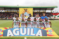 IPIALES - COLOMBIA, 28-04-2019: Jugadores del Patriotas posan para una foto previo al partido por la fecha 18 de la Liga Águila I 2019 entre Deportivo Pasto y Patriotas Boyacá jugado en el estadio Estadio Municipal de Ipiales. / Players of Patriotas pose to a photo prior match for the date 18 as part of Aguila League I 2019 between Deportivo Pasto and Patriotas Boyaca played at Municipal stadium of Ipiales.  Photo: VizzorImage / Leonardo Castro / Cont