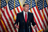 United States Senator John Barrasso (Republican of Wyoming), fields questions from reporters as he is joined by other Senate GOP leadership following the GOP luncheon in the Hart Senate Office Building on Capitol Hill in Washington, DC., Tuesday, June 30, 2020. <br /> Credit: Rod Lamkey / CNP /MediaPunch