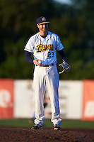Burlington Bees pitcher Michael Bolaski (23) warms up in between innings during a game against the Clinton LumberKings on August 20, 2015 at Community Field in Burlington, Iowa.  Burlington defeated Clinton 3-2.  (Mike Janes/Four Seam Images)
