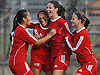 Rachel Rosenberg #24 of Syosset, second from right, gets congratulated by teammates, from left, Kaitlyn Shin #6, Tejan Singh #4 and Melina Bruzzone #19 after scoring a goal in the second minute of a Nassau County Class AA varsity girls soccer quarterfinal against host East Meadow High School on Tuesday, Oct. 25, 2016. Syosset went on to win by a score of 2-1.