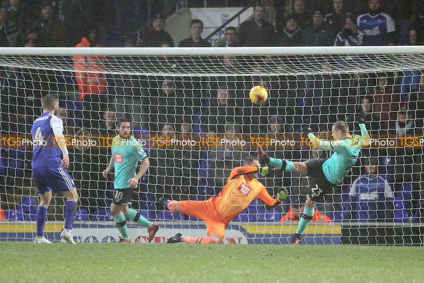 Matej Vydra of Derby County clears the ball off the line during Ipswich Town vs Derby County, Sky Bet EFL Championship Football at Portman Road on 31st January 2017
