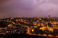 Old City Walls at twilight, Jerusalem, Israel.