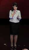 St. Paul, MN - September 3, 2008 -- Governor Sarah Palin of Alaska stands alone on the podium after accepting the Republican nomination as Vice President of the United States on day 3 of the 2008 Republican National Convention at the Xcel Energy Center in Saint Paul, Minnesota on Wednesday, September 3, 2008.Credit: Ron Sachs / CNP.(RESTRICTION: NO New York or New Jersey Newspapers or newspapers within a 75 mile radius of New York City)