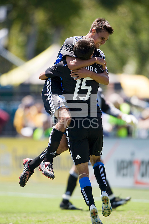 August 2nd, 2009: San Jose Earthquakes Chris Wondolowski hugs Shea Salinas with his big assist during 2nd half against Seattle Sounders at Buck Shaw Stadium in Santa Clara, California. San Jose Earthquakes defeated Seattle Sounders 4 - 0