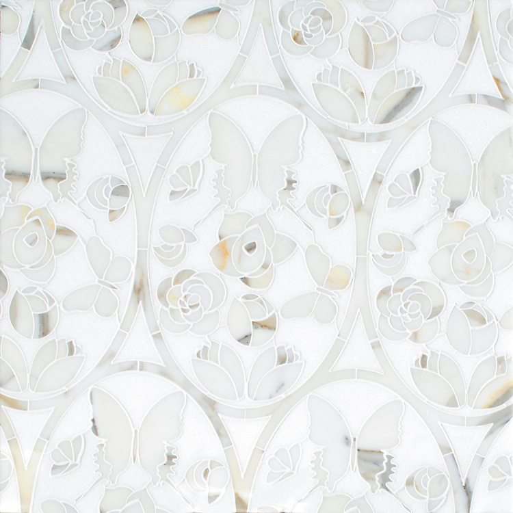 Caroline Medallion, a waterjet mosaic shown in polished Thassos and Calacatta Gold, is part of the Liliane™ Collection by Caroline Beaupere for New Ravenna.