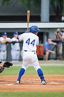 Cristhian Vasquez (44) of the Burlington Royals at bat against the Bluefield Blue Jays at Burlington Athletic Stadium on June 27, 2016 in Burlington, North Carolina.  The Royals defeated the Blue Jays 9-4.  (Brian Westerholt/Four Seam Images)