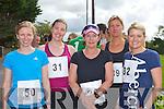 Eimear Nelligan Castleisland, Carol Kelleher Rathmore, Ann O'Connor Milltown, Sophie Kiely Cork and Christine Hegarty Killarney at the Milltown 10km race on Sunday..