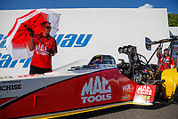 Jun 9, 2017; Englishtown , NJ, USA; Crew member with NHRA top fuel driver Doug Kalitta during qualifying for the Summernationals at Old Bridge Township Raceway Park. Mandatory Credit: Mark J. Rebilas-USA TODAY Sports