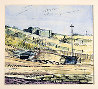 BNPS.co.uk (01202 558833)Pic: DominicWinter/BNPS<br /> <br /> Sandbagged AC observation post Prestatyn dunes.<br /> <br /> Unseen harrowing drawings which vividly capture the horrors of the Blitz during World War Two have come to light 78 years later.<br /> <br /> Artist Ivor Beddoes began the war as an actor in the West End but quit to become a stretcher bearer as the German bombs rained down on London.<br /> <br /> He made sketches on the spot and then added watercolours later, documenting in graphic detail the devastation caused.<br /> <br /> Beddoes' drawings show bodies strewn on the blood soaked ground as the Luftwaffe did their worst. Others reveal frantic searches for survivors in the rubble of decimated buildings.<br /> <br /> The drawings have emerged for sale with auction house Dominic Winter, of Cirencester, Gloucs. They are expected to fetch £5,000.
