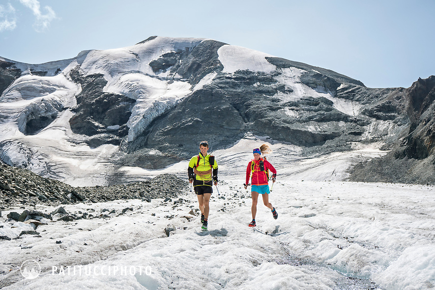 The Chamonix to Zermatt Glacier Haute Route. In late August 2017, we ran the tour in mountain running gear, running shoes, and all the necessary glacier travel and crevasse rescue gear. Descending the Haut Glacier d'Arolla.