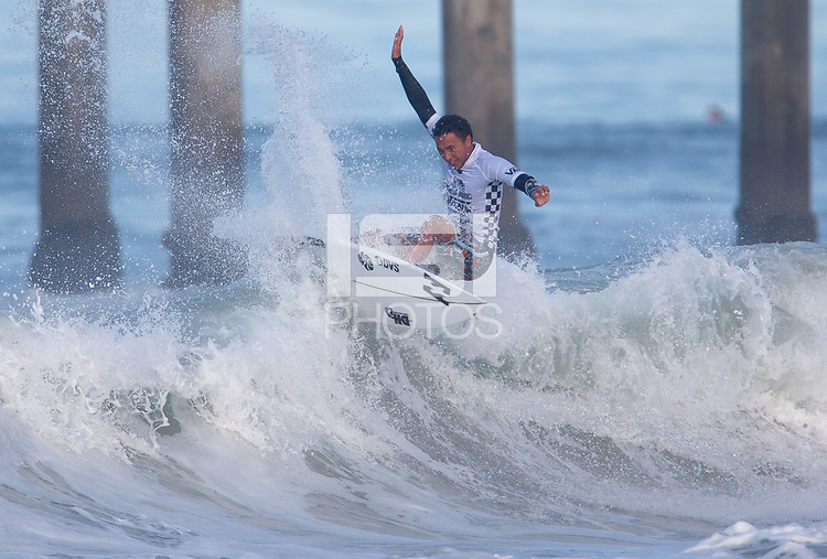 Huntington Beach, CA - Thursday August 03, 2017: Joshua Moniz during a World Surf League (WSL) Qualifying Series (QS) second round heat in the 2017 Vans US Open of Surfing on the South side of the Huntington Beach pier.