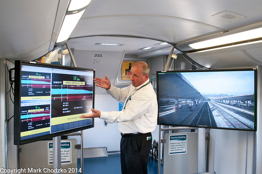 Metrolink representative demonstrates Positive Train Control.