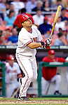 12 June 2006: Jose Vidro, second baseman for the Washington Nationals, at bat against the Colorado Rockies at RFK Stadium, in Washington, DC. The Nationals fell to the Rockies 4-3 in the first game of the four game series...Mandatory Photo Credit: Ed Wolfstein Photo..