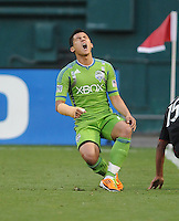Seattle Sounders midfielder Freddy Montero (17) gets fouled.   DC United defeated The Seattle Sounders 2-1 at  RFK Stadium, Wednesday May 4, 2011.