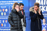 Pictured: Sala's sister Romina Sala (right) pays tribute for Emiliano Sala laid down outside the Cardiff City Stadium in south Wales, UK. Friday 25 January 2019<br /> Re: Premier League footballer Emiliano Sala was on a flight which disappeared between France and Cardiff.<br /> The Argentine striker was one of two people on board the Piper Malibu, which disappeared off Alderney on Monday night.<br /> Cardiff City FC, signed the 28-year-old from French club Nantes.