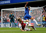 Laurent Koscielny of arsenal clatters into Pedro of Chelsea during the premier league match at Stamford Bridge Stadium, London. Picture date 17th September 2017. Picture credit should read: David Klein/Sportimage