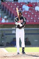 Lewis Brinson (25) of the High Desert Mavericks bats during a game against the San Jose Giants at Mavericks Stadium on June 14, 2015 in Adelanto, California. High Desert defeated San Jose, 7-5. (Larry Goren/Four Seam Images)