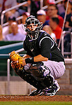 9 July 2011: Colorado Rockies catcher Chris Iannetta glaces back to the dugout during play against the Washington Nationals at Nationals Park in Washington, District of Columbia. The Rockies edged out the Nationals 2-1 to win the second game of their 3-game series. Mandatory Credit: Ed Wolfstein Photo