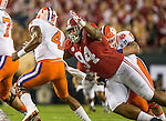 Alabama defensive lineman Da'Ron Payne (94) sacks Clemson quarterback Deshaun Watson in the first half of the 2017 College Football Playoff National Championship in Tampa, Florida on January 9, 2017.  Photo by Mark Wallheiser/UPI