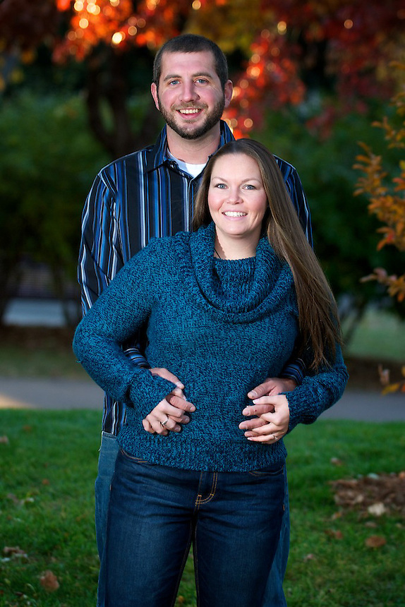 Coleen Karpilo and Matt DePasse engagement photo session, Novemeber 1, 2010 on the University of Denver campus, Denver, Colorado, United States.