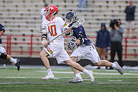 College Park, MD - February 25, 2017: Maryland Terrapins Jared Bernhardt (10) attempts a shot during game between Yale and Maryland at  Capital One Field at Maryland Stadium in College Park, MD.  (Photo by Elliott Brown/Media Images International)