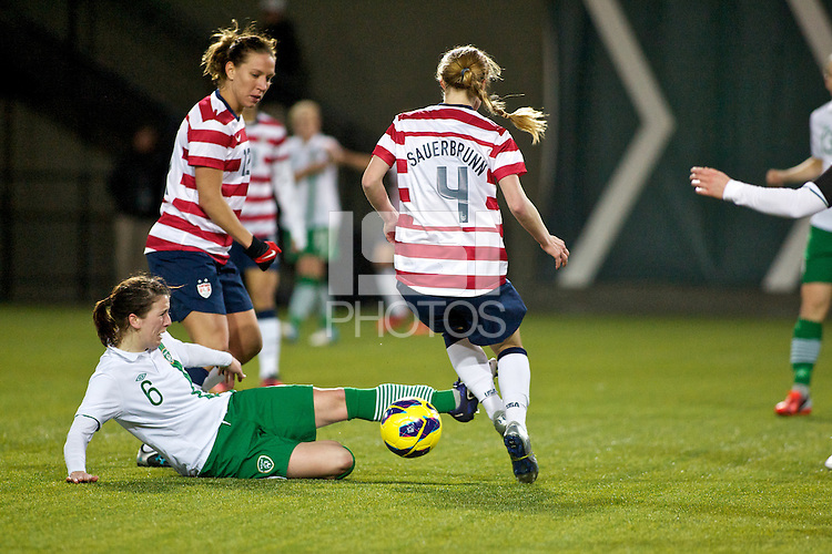 Niamh Fahey of Ireland defends in the second half. USWNT played played a friendly against Ireland at JELD-WEN Field in Portland, Oregon on November 28, 2012.