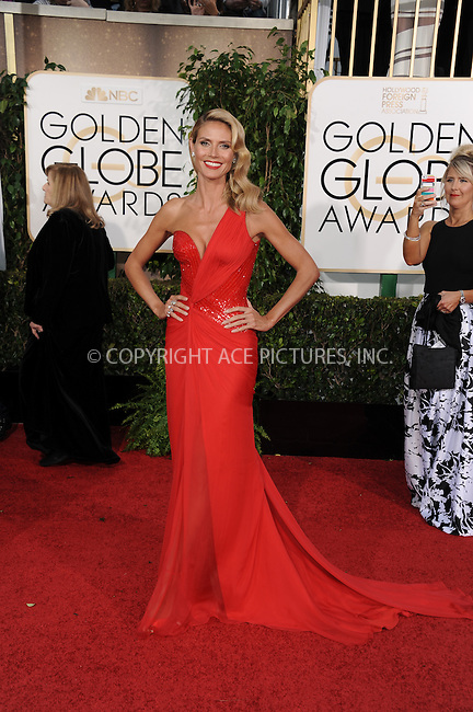 WWW.ACEPIXS.COM<br /> <br /> January 11 2015, LA<br /> <br /> Heidi Klum arriving at the 72nd Annual Golden Globe Awards at The Beverly Hilton Hotel on January 11, 2015 in Beverly Hills, California.<br /> <br /> By Line: Peter West/ACE Pictures<br /> <br /> <br /> ACE Pictures, Inc.<br /> tel: 646 769 0430<br /> Email: info@acepixs.com<br /> www.acepixs.com