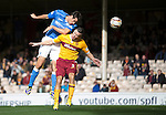 Motherwell v St Johnstone...30.08.14  SPFL<br /> Brian Graham gets above Simon Ramsden to score the only goal of the game<br /> Picture by Graeme Hart.<br /> Copyright Perthshire Picture Agency<br /> Tel: 01738 623350  Mobile: 07990 594431