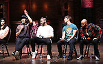"Lauren Boyd, Anthony Lee Medina, Giuseppe Bausilio, Thayne Jasperson and Terrance Spencer during the eduHAM Q & A before The Rockefeller Foundation and The Gilder Lehrman Institute of American History sponsored High School student #EduHam matinee performance of ""Hamilton"" at the Richard Rodgers Theatre on November 20, 2019 in New York City."
