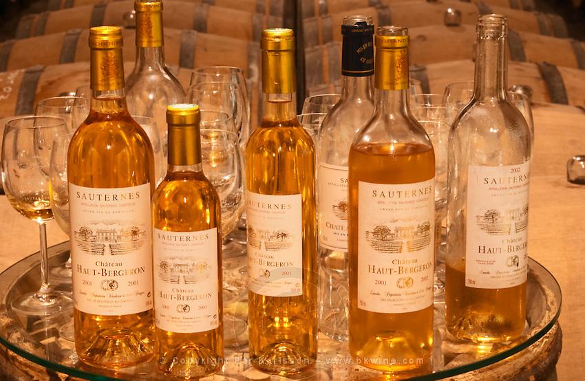 A collection of bottles of different sizes - Chateau Haut Bergeron, Sauternes, Bordeaux