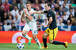 Lucas Vazquez (l) of Real Madrid battles for the ball with Diego Roberto Godin Leal of Atletico de Madrid during their 2016-17 UEFA Champions League Semifinals 1st leg match between Real Madrid and Atletico de Madrid at the Estadio Santiago Bernabeu on 02 May 2017 in Madrid, Spain. Photo by Diego Gonzalez Souto / Power Sport Images