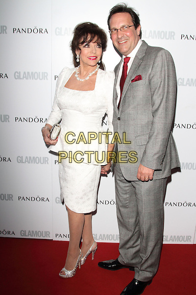 Joan Collins and Percy Gibson<br /> Glamour Women of the Year Awards at Berkeley Square Gardens, London, England.<br /> June 4th 2013<br /> full length dress white grey gray glasses red tie married husband wife<br /> CAP/ROS<br /> &copy;Steve Ross/Capital Pictures