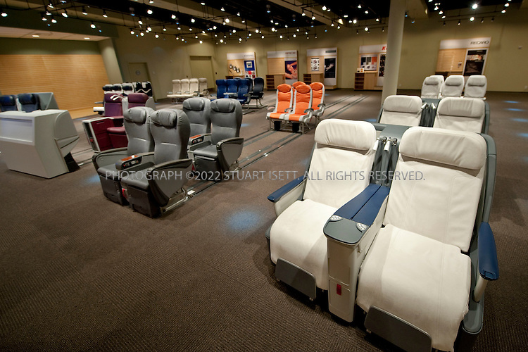 10/22/2009--Everett, WA, USA...The Dreamliner Gallery, a 54,000-square-foot facility about a mile north of the Everett plant where the first 787 will be assemble. At the gallery customers will be able to pick interior designs, seats, and other features for their 787s...The 787-8 Dreamliner will carry 210 - 250 passengers on routes of 7,650 to 8,200 nautical miles (14,200 to 15,200 kilometers), while the 787-9 Dreamliner will carry 250 - 290 passengers on routes of 8,000 to 8,500 nautical miles (14,800 to 15,750 kilometers).  A third 787 family member, the 787-3 Dreamliner, will accommodate 290 - 330 passengers and be optimized for routes of 2,500 to 3,050 nautical miles (4,600 to 5,650 kilometers). ..In addition to bringing big-jet ranges to mid-size airplanes, the 787 will provide airlines with unmatched fuel efficiency, resulting in exceptional environmental performance. The airplane will use 20 percent less fuel for comparable missions than today's similarly sized airplane. It will also travel at speeds similar to today's fastest wide bodies, Mach 0.85. Airlines will enjoy more cargo revenue capacity. Passengers will also see improvements with the new air...©2009 Stuart Isett. All rights reserved.