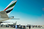 An Airbus A380-800, manufactured by Airbus SAS and operated by Emirates is displayed during the Dubai Air Show on 9 November 2015 at the outskirts of Dubai, United Arab States. Photo by Victor Fraile / Power Sport Images