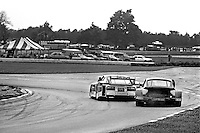 The Datsun 280ZX Turbo driven by Sam Posey and Paul Newman leads a Porsche into Turn 5 during a Camel GT IMSA race at Road America near Elkhart Lake, Wisconsin, on August 31, 1980. (Photo by Bob Harmeyer)