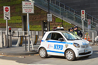 NYPD counterterrorism bureau officers, using a new Smart ForTwo smart car, provide security at the World Trade Center site in New York City.