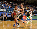 BROOKINGS, SD - MARCH 19:  Sydney Palmer #32 from South Dakota State looks to make a move around Makenzie Ellis #1 from Colorado during their second round WNIT game at Frost Arena March 19, 2017 in Brookings, South Dakota. (Photo by Dave Eggen/Inertia)